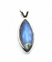 Marqui Rainbow Moonstone Pendant Silver with 2prong bail 'One-Off'